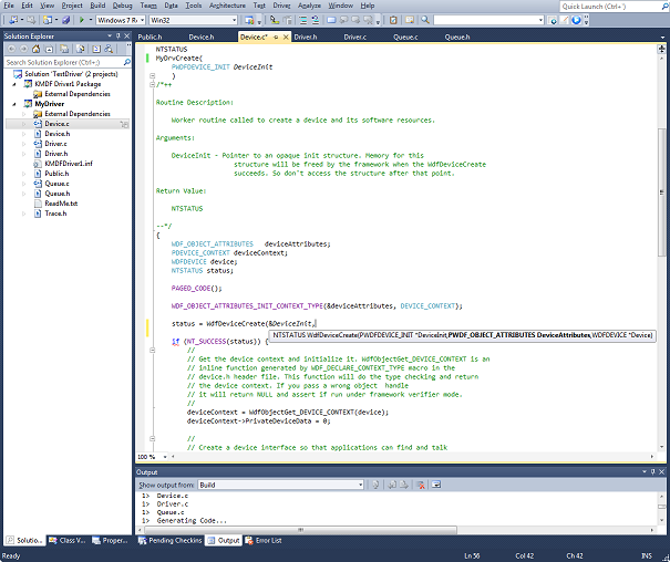 Figure 1 - Driver Writing in Visual Studio with the Win8 WDK